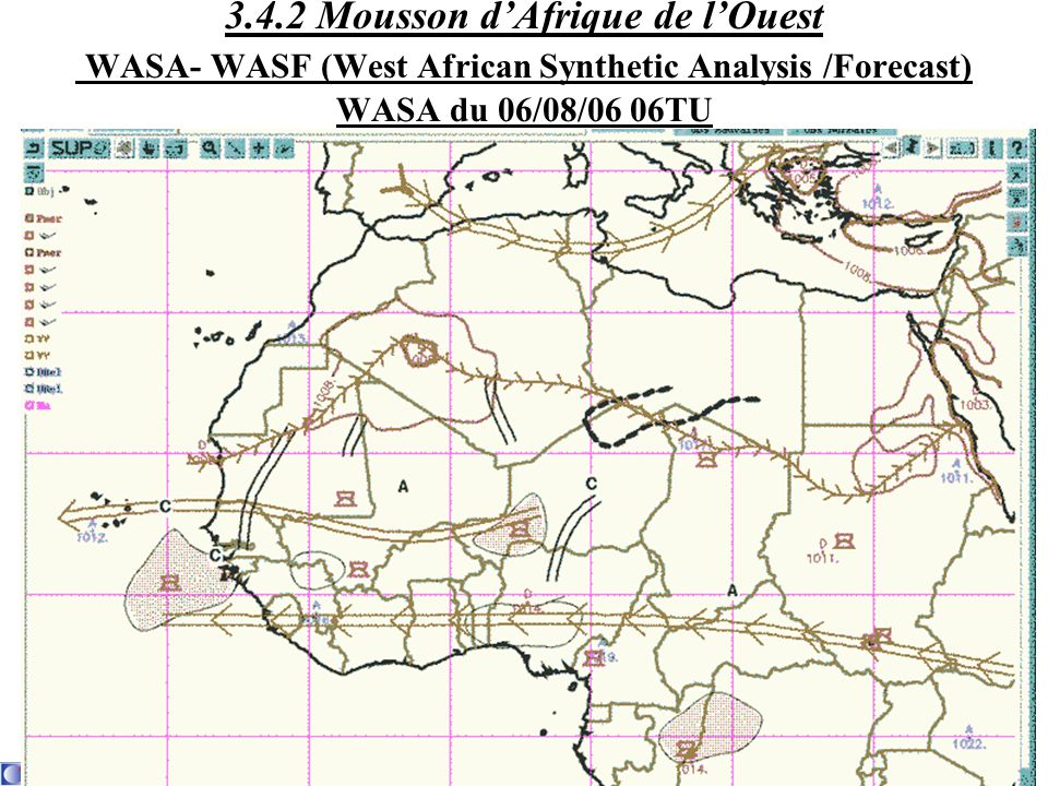 3.4.2 Mousson d'Afrique de l'Ouest WASA- WASF (West African Synthetic Analysis /Forecast) WASA du 06/08/06 06TU