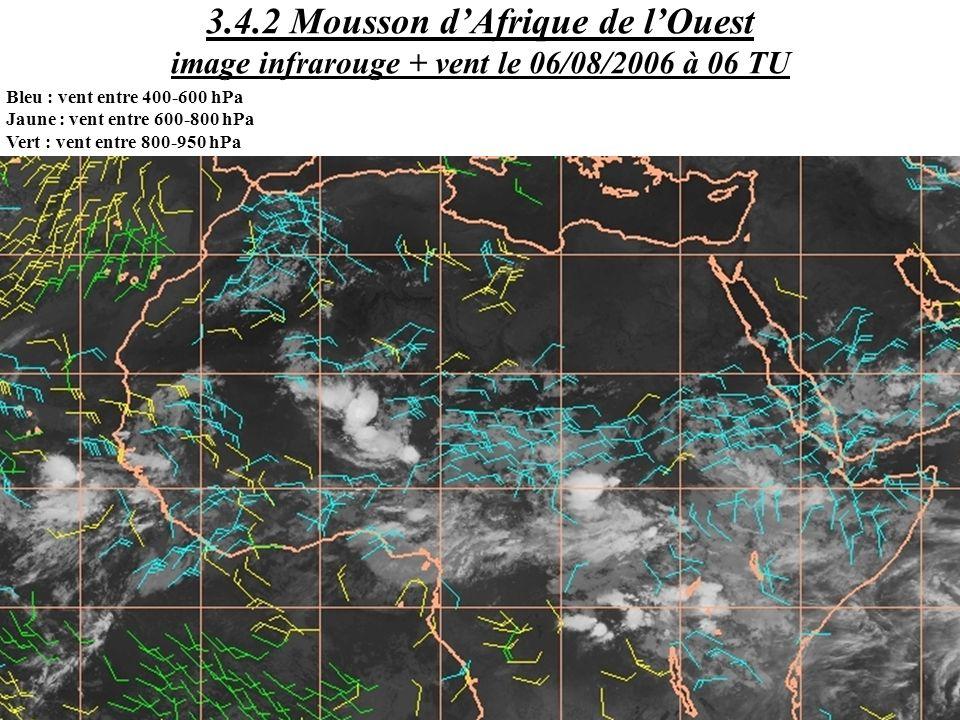3.4.2 Mousson d'Afrique de l'Ouest image infrarouge + vent le 06/08/2006 à 06 TU