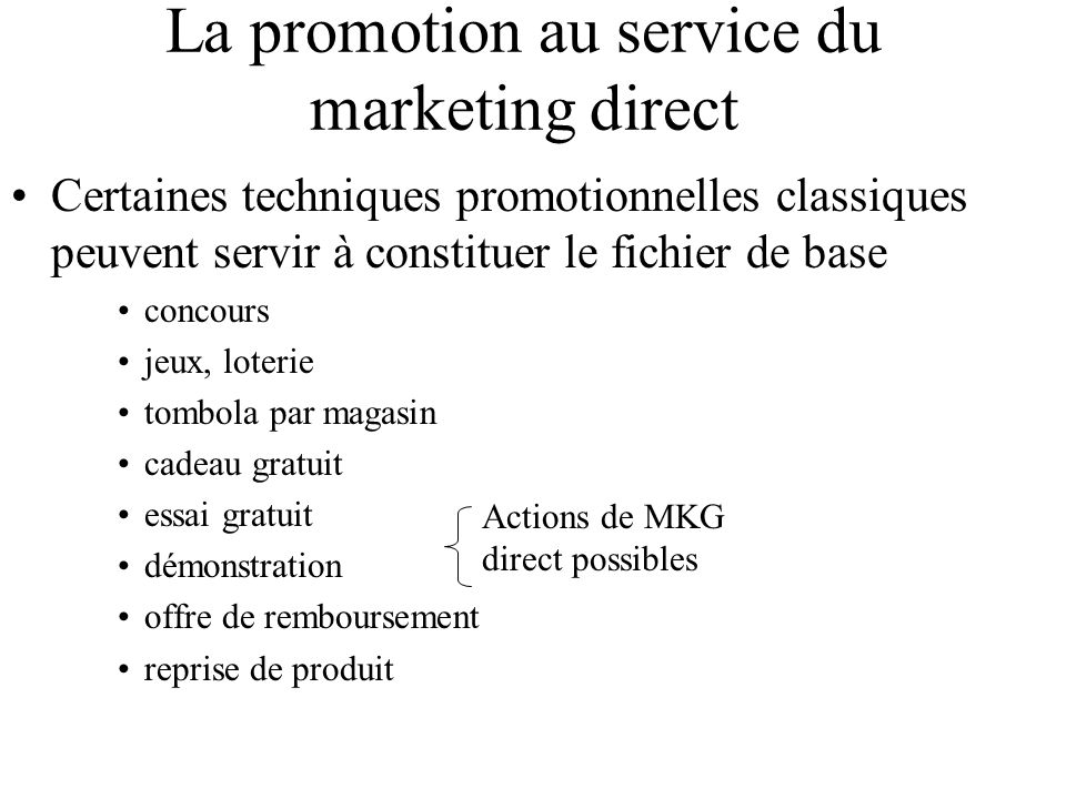 La promotion au service du marketing direct