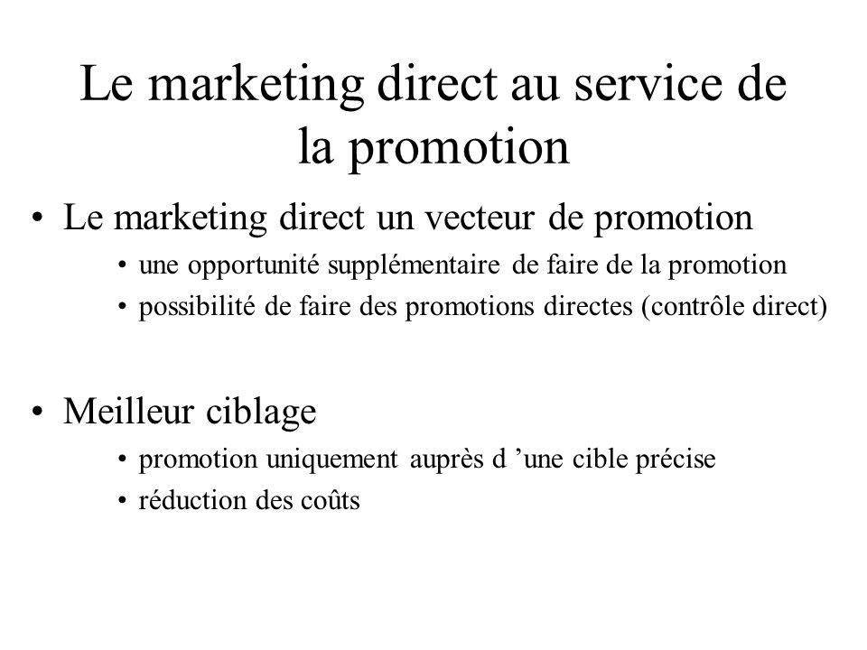 Le marketing direct au service de la promotion