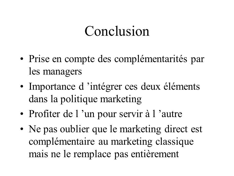 Conclusion Prise en compte des complémentarités par les managers