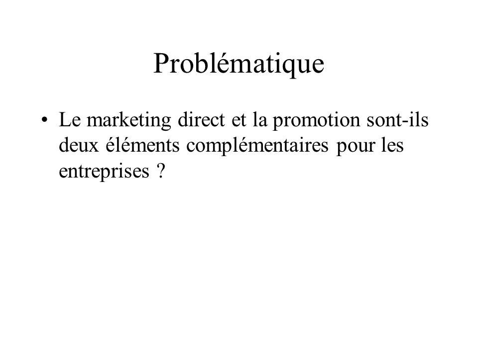 Problématique Le marketing direct et la promotion sont-ils deux éléments complémentaires pour les entreprises