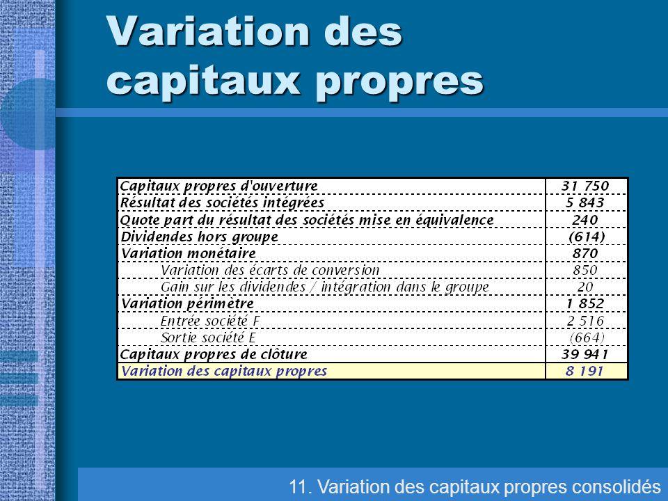Variation des capitaux propres