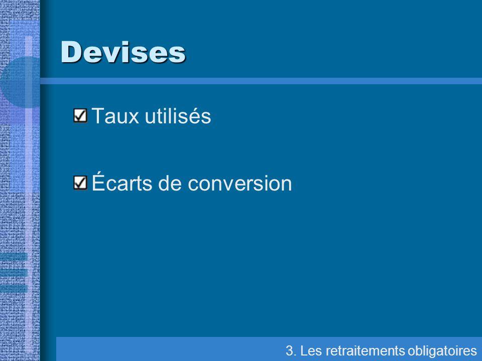 Devises Taux utilisés Écarts de conversion