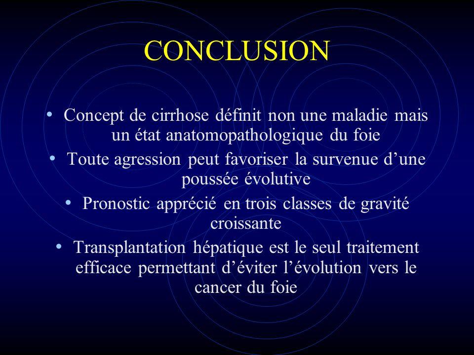 CONCLUSION Concept de cirrhose définit non une maladie mais un état anatomopathologique du foie.