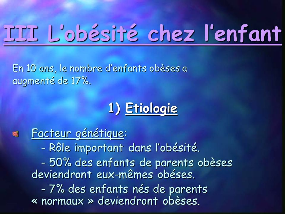 III L'obésité chez l'enfant