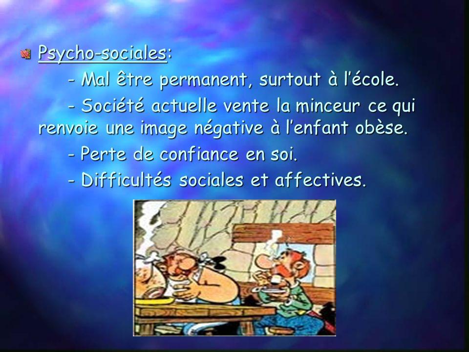 Psycho-sociales: - Mal être permanent, surtout à l'école. - Société actuelle vente la minceur ce qui renvoie une image négative à l'enfant obèse.