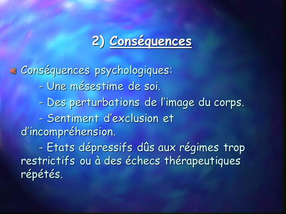 2) Conséquences Conséquences psychologiques: - Une mésestime de soi.