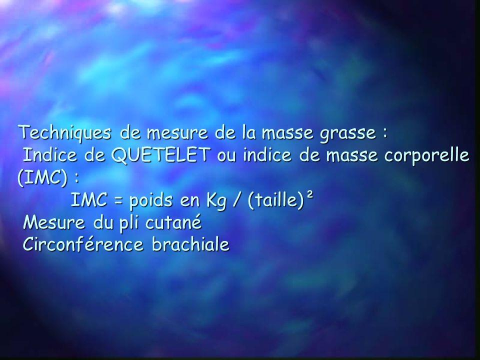 Techniques de mesure de la masse grasse : Indice de QUETELET ou indice de masse corporelle (IMC) : IMC = poids en Kg / (taille)² Mesure du pli cutané Circonférence brachiale