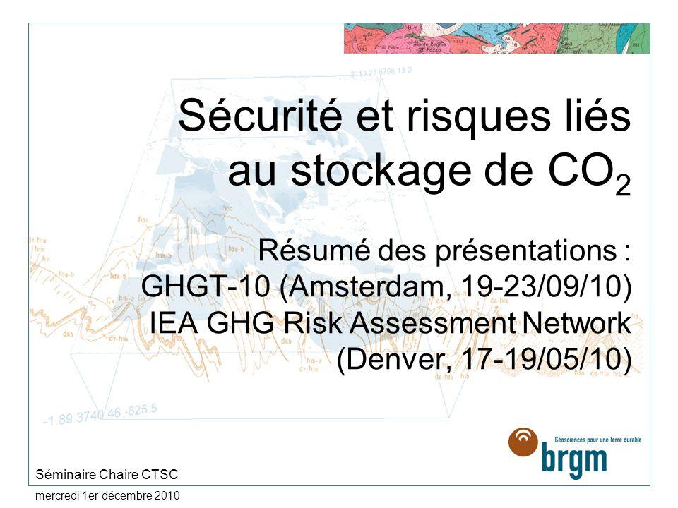 Sécurité et risques liés au stockage de CO2 Résumé des présentations : GHGT-10 (Amsterdam, 19-23/09/10) IEA GHG Risk Assessment Network (Denver, 17-19/05/10)