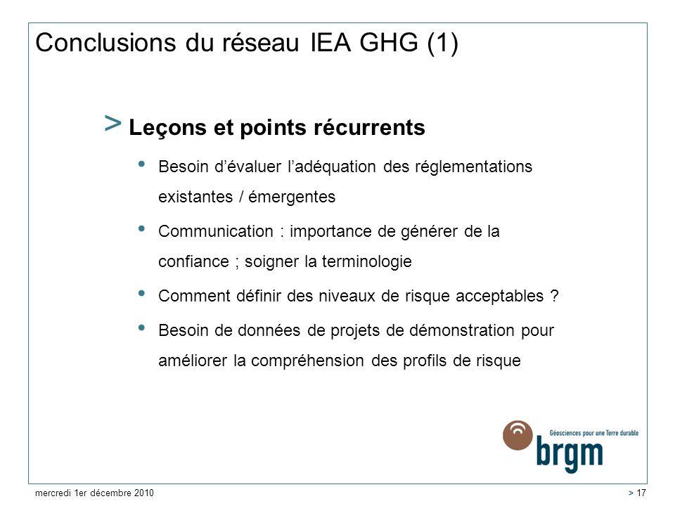 Conclusions du réseau IEA GHG (1)