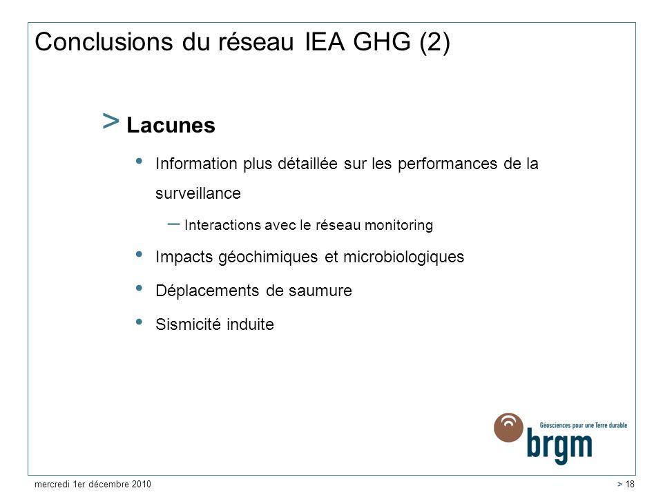 Conclusions du réseau IEA GHG (2)