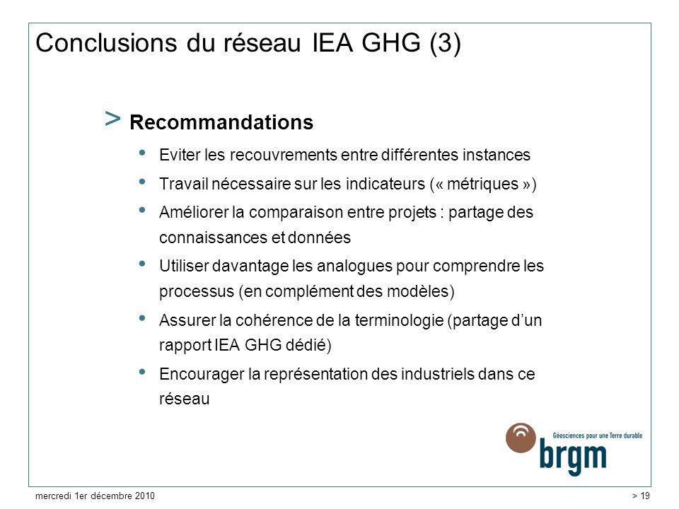 Conclusions du réseau IEA GHG (3)