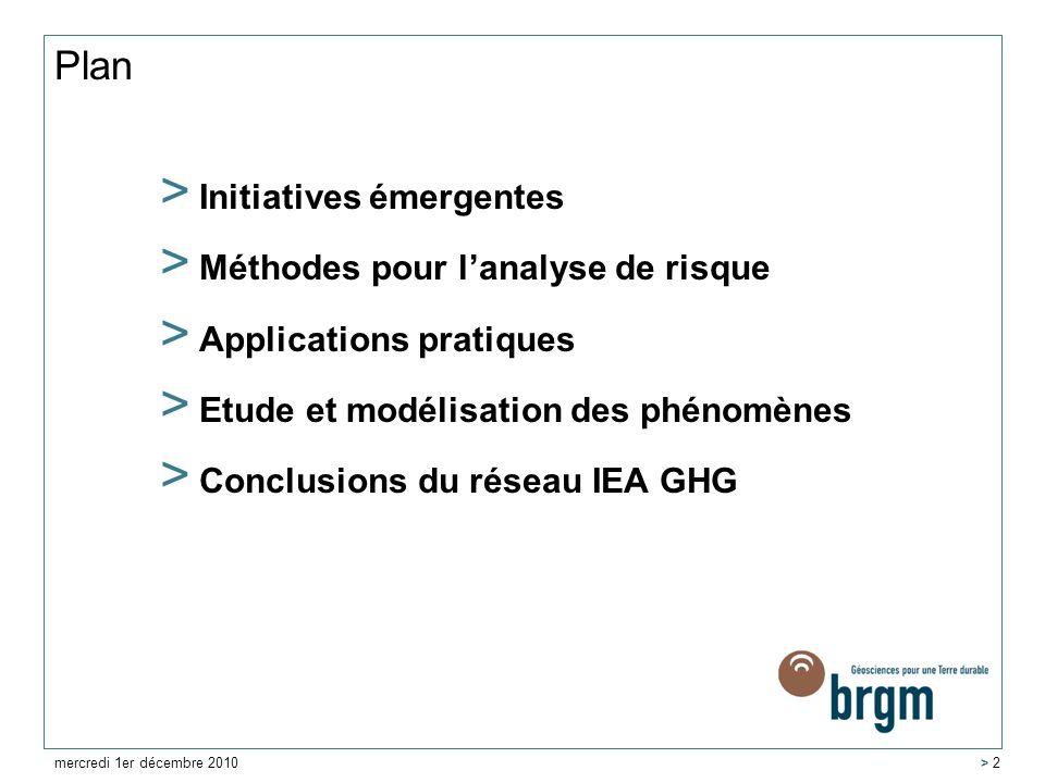 Plan Initiatives émergentes Méthodes pour l'analyse de risque
