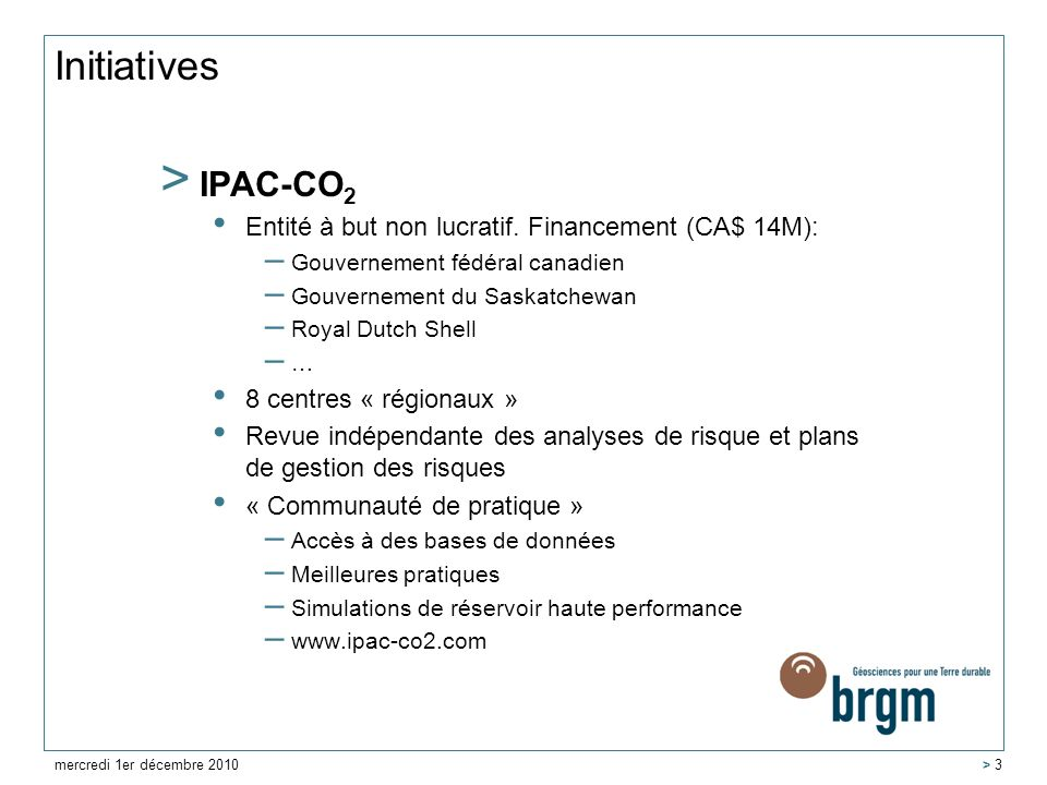 Initiatives IPAC-CO2 Entité à but non lucratif. Financement (CA$ 14M):