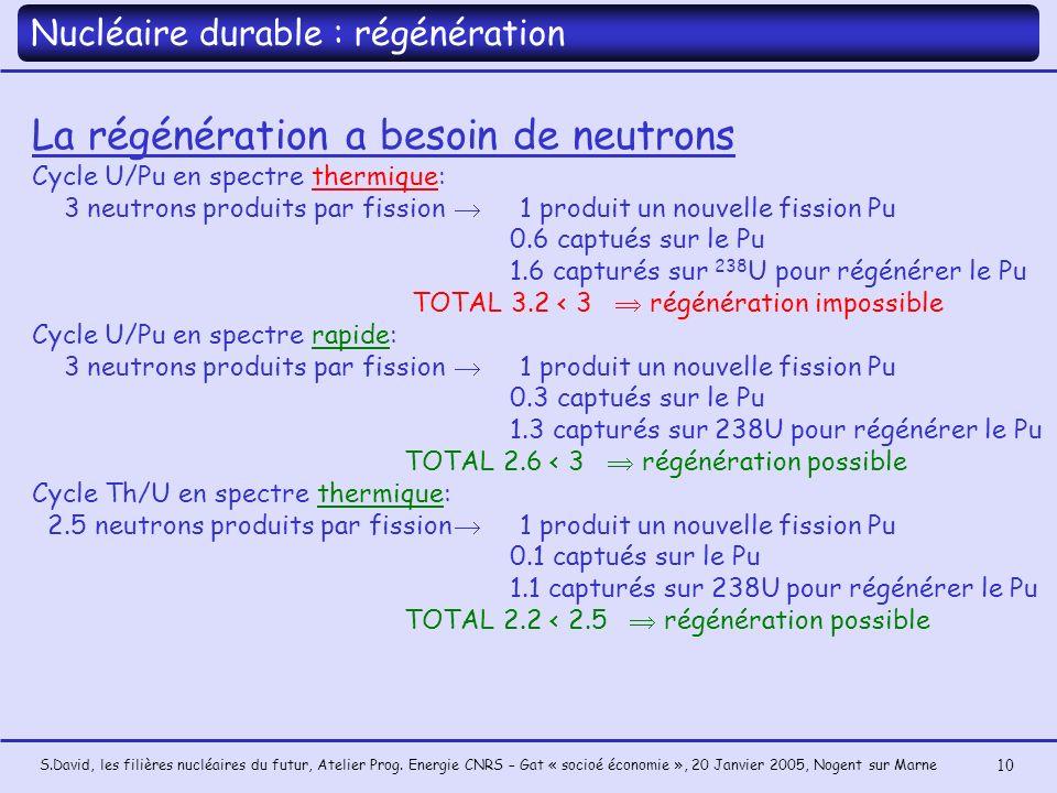 La régénération a besoin de neutrons