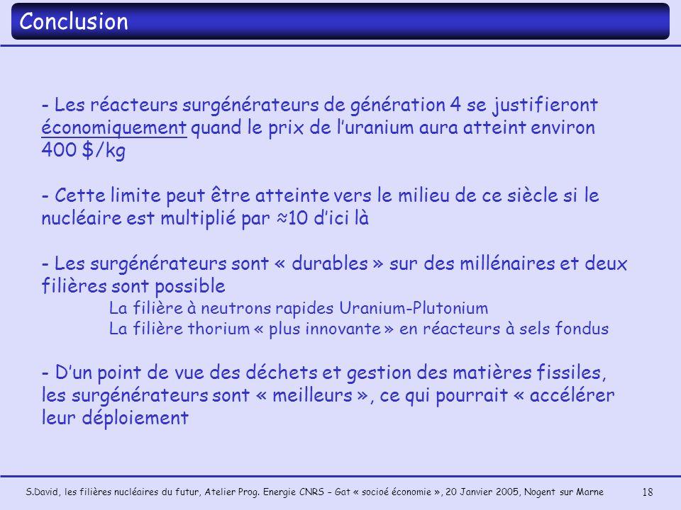 Conclusion - Les réacteurs surgénérateurs de génération 4 se justifieront économiquement quand le prix de l'uranium aura atteint environ 400 $/kg.