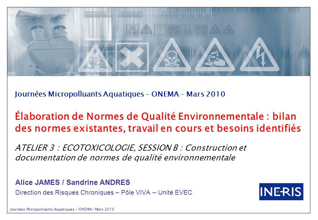 Journées Micropolluants Aquatiques – ONEMA – Mars 2010