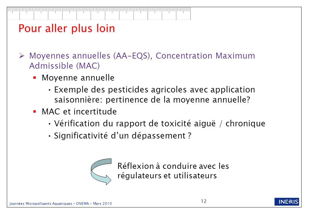 Pour aller plus loin Moyennes annuelles (AA-EQS), Concentration Maximum Admissible (MAC) Moyenne annuelle.