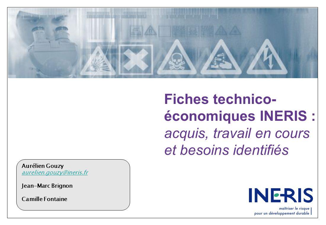 Fiches technico-économiques INERIS : acquis, travail en cours et besoins identifiés