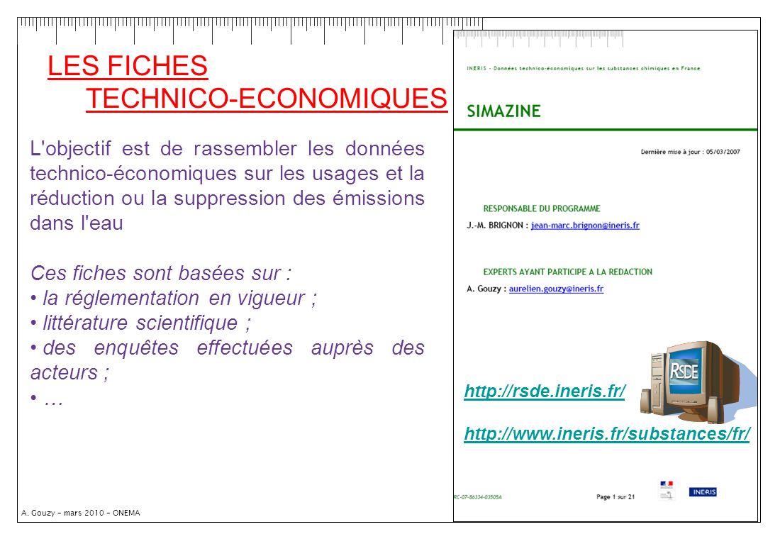 LES FICHES TECHNICO-ECONOMIQUES