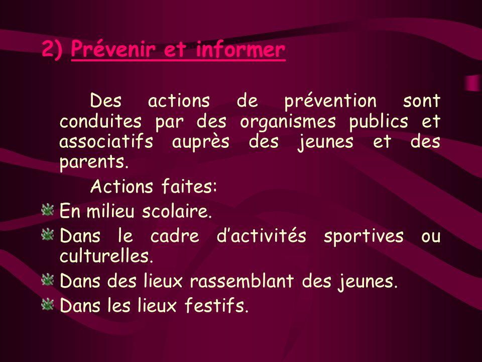 2) Prévenir et informer Des actions de prévention sont conduites par des organismes publics et associatifs auprès des jeunes et des parents.