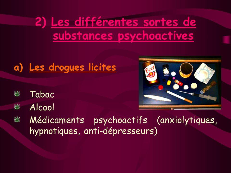 2) Les différentes sortes de substances psychoactives