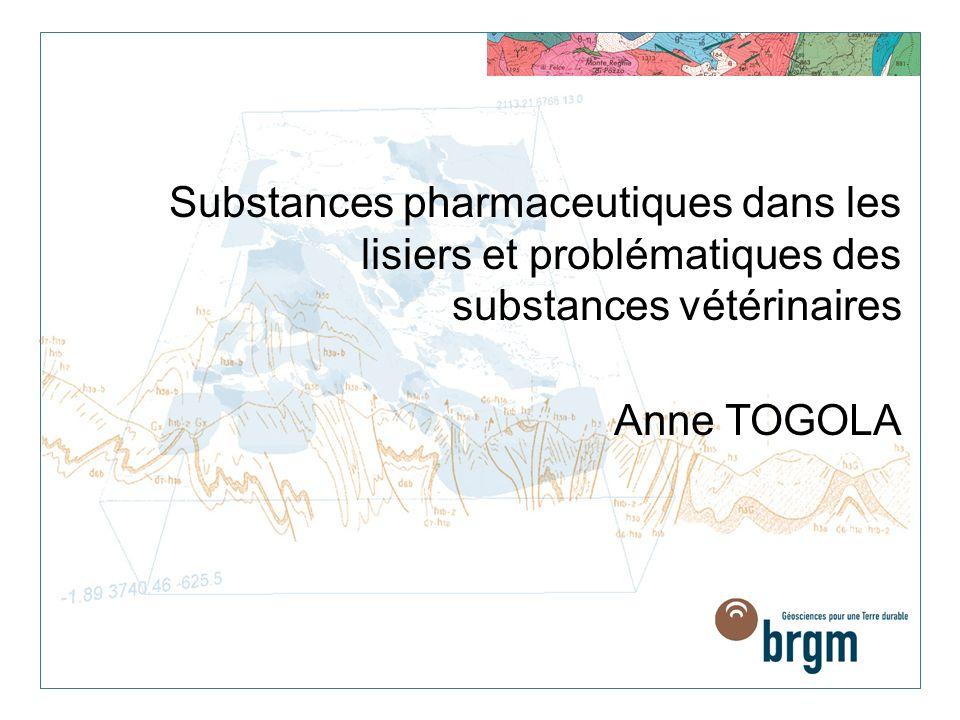 Substances pharmaceutiques dans les lisiers et problématiques des substances vétérinaires Anne TOGOLA