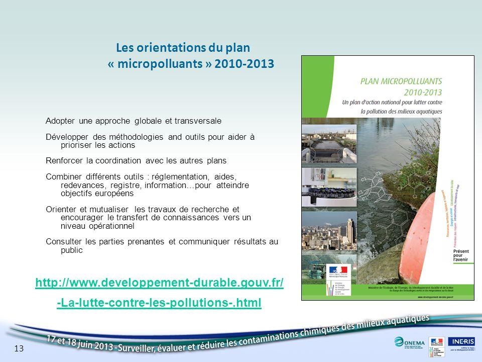 Les orientations du plan « micropolluants » 2010-2013