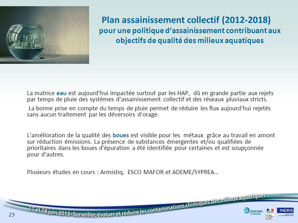 Plan assainissement collectif (2012-2018) pour une politique d'assainissement contribuant aux objectifs de qualité des milieux aquatiques
