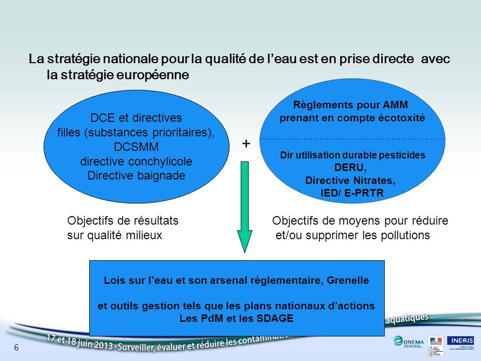 La stratégie nationale pour la qualité de l'eau est en prise directe avec la stratégie européenne