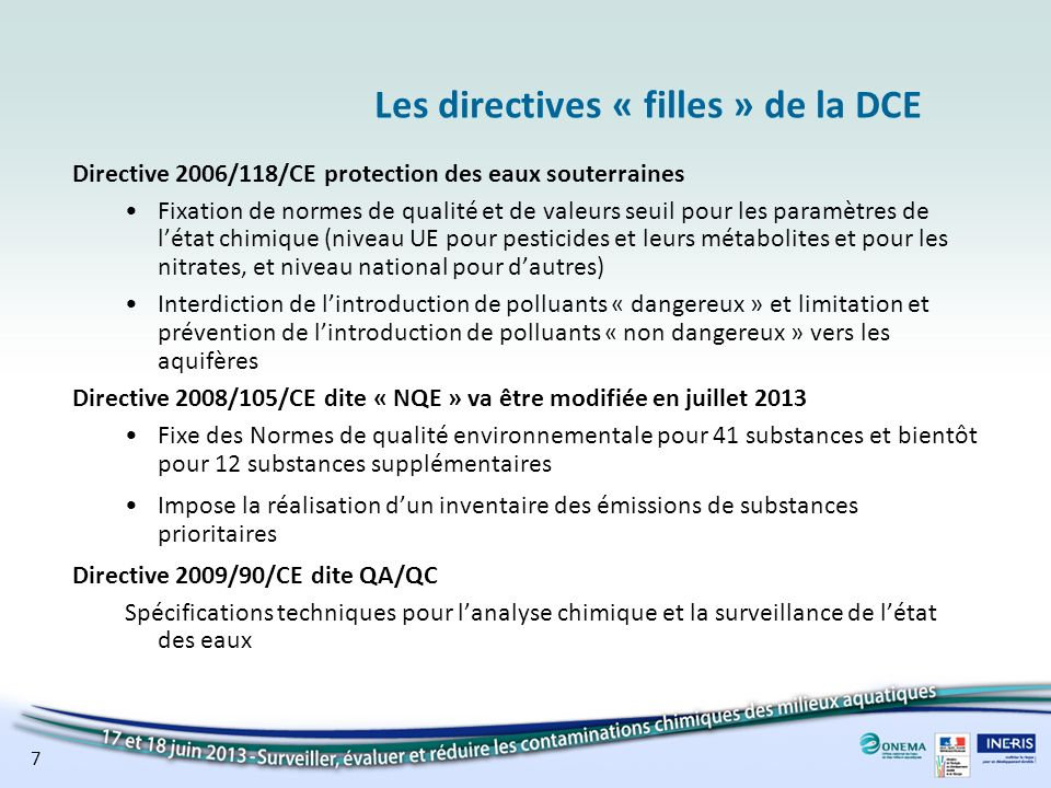Les directives « filles » de la DCE