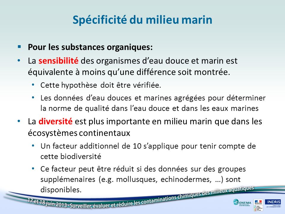 Spécificité du milieu marin