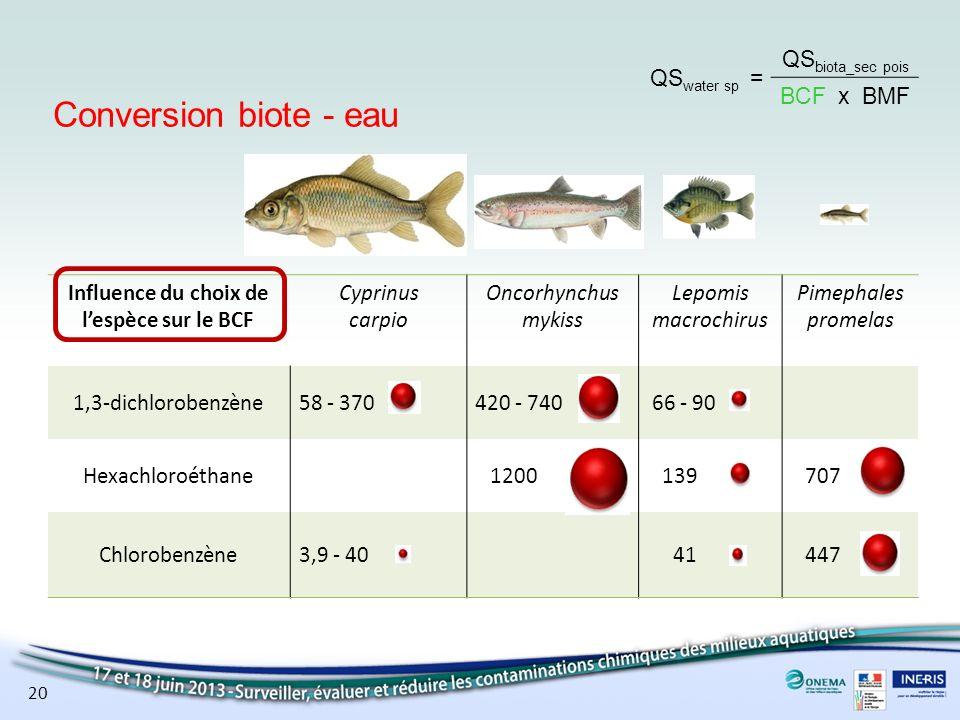 Influence du choix de l'espèce sur le BCF