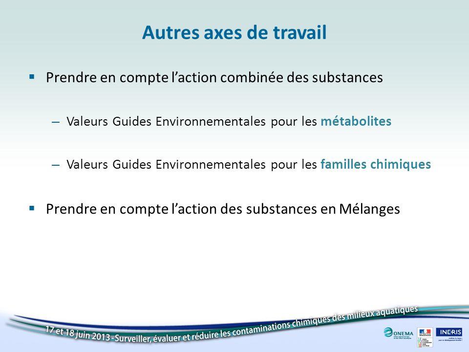 Autres axes de travail Prendre en compte l'action combinée des substances. Valeurs Guides Environnementales pour les métabolites.