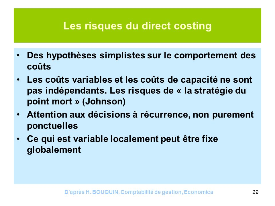 Les risques du direct costing