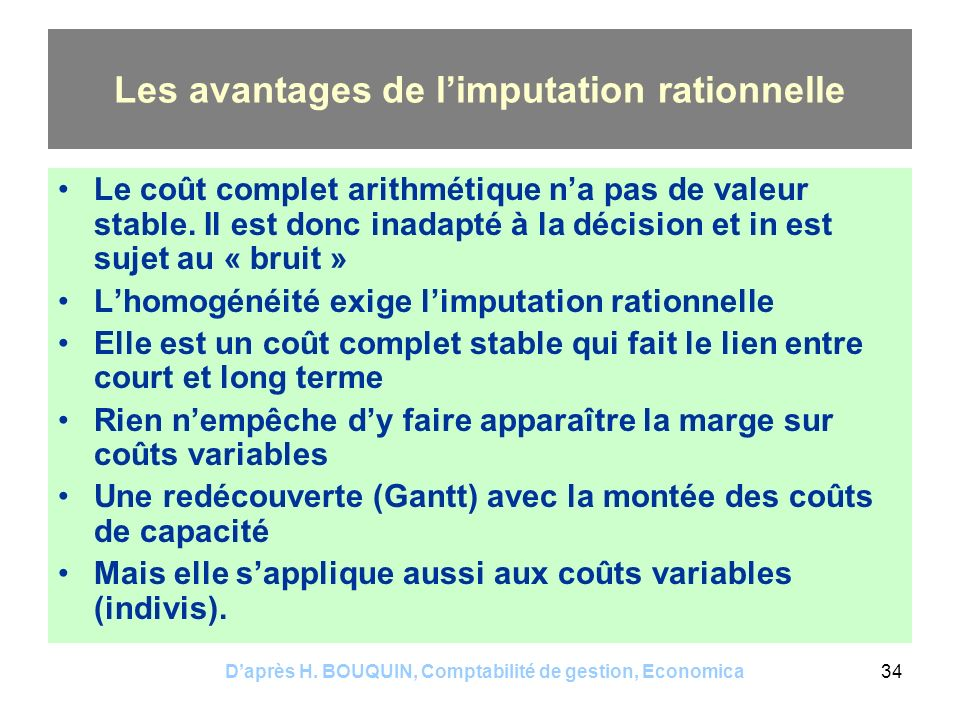 Les avantages de l'imputation rationnelle