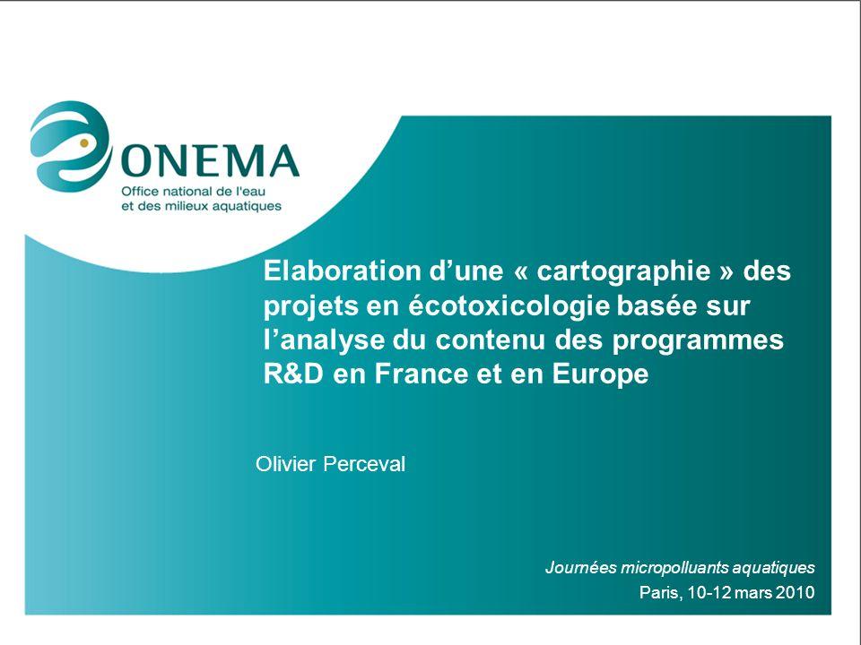 Elaboration d'une « cartographie » des projets en écotoxicologie basée sur l'analyse du contenu des programmes R&D en France et en Europe