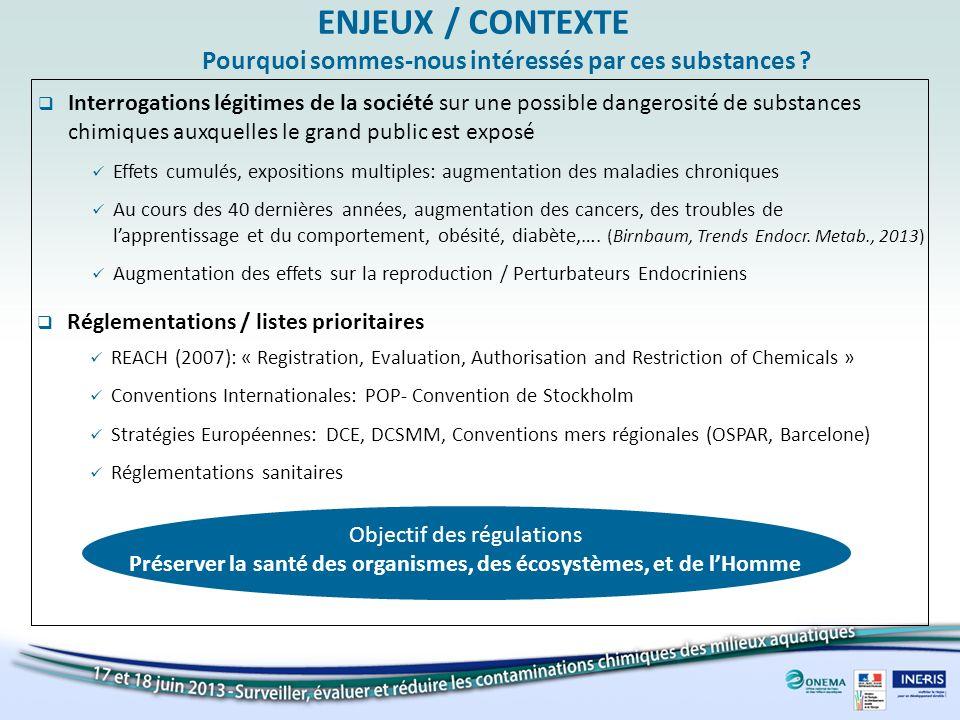 ENJEUX / CONTEXTE Pourquoi sommes-nous intéressés par ces substances
