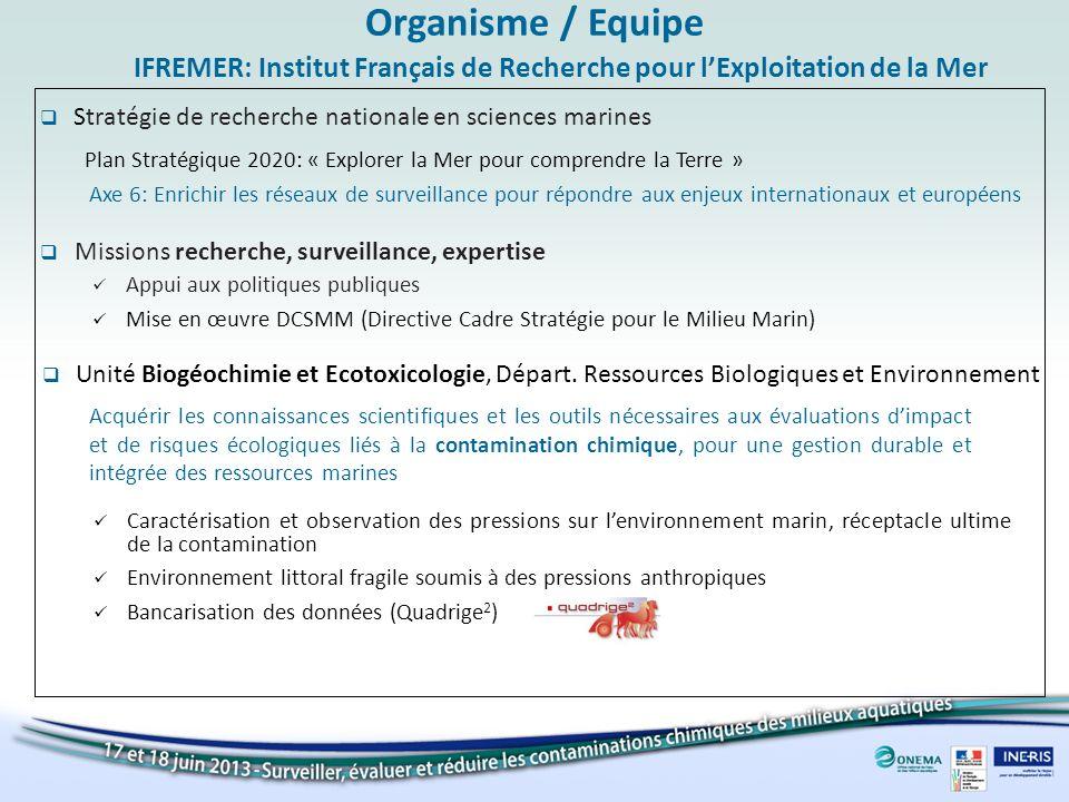 Organisme / Equipe IFREMER: Institut Français de Recherche pour l'Exploitation de la Mer. Stratégie de recherche nationale en sciences marines.