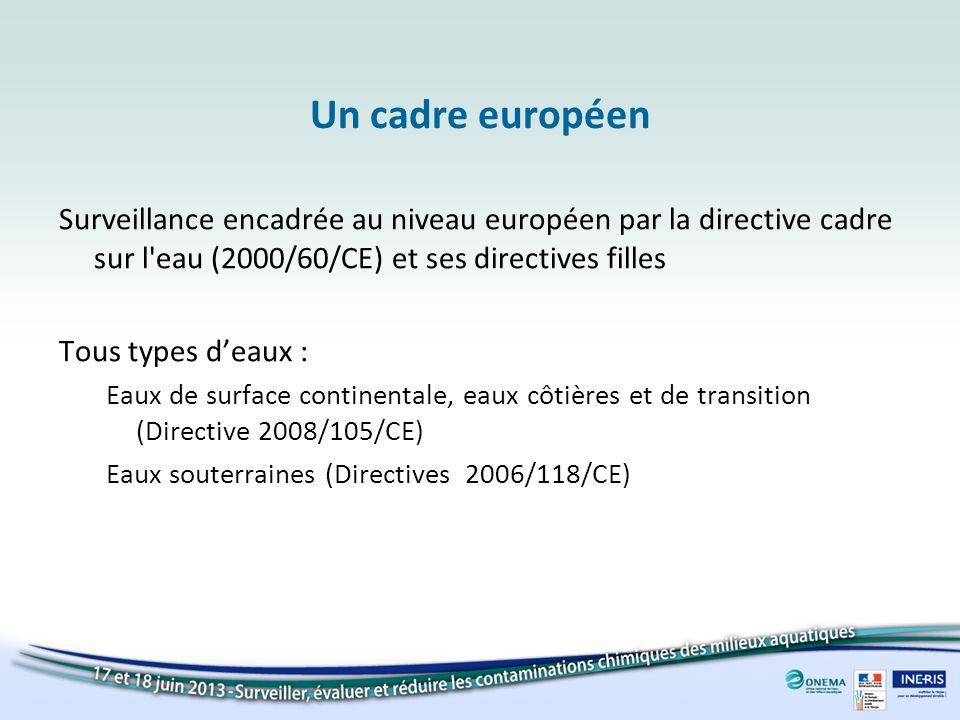 Un cadre européen Surveillance encadrée au niveau européen par la directive cadre sur l eau (2000/60/CE) et ses directives filles.