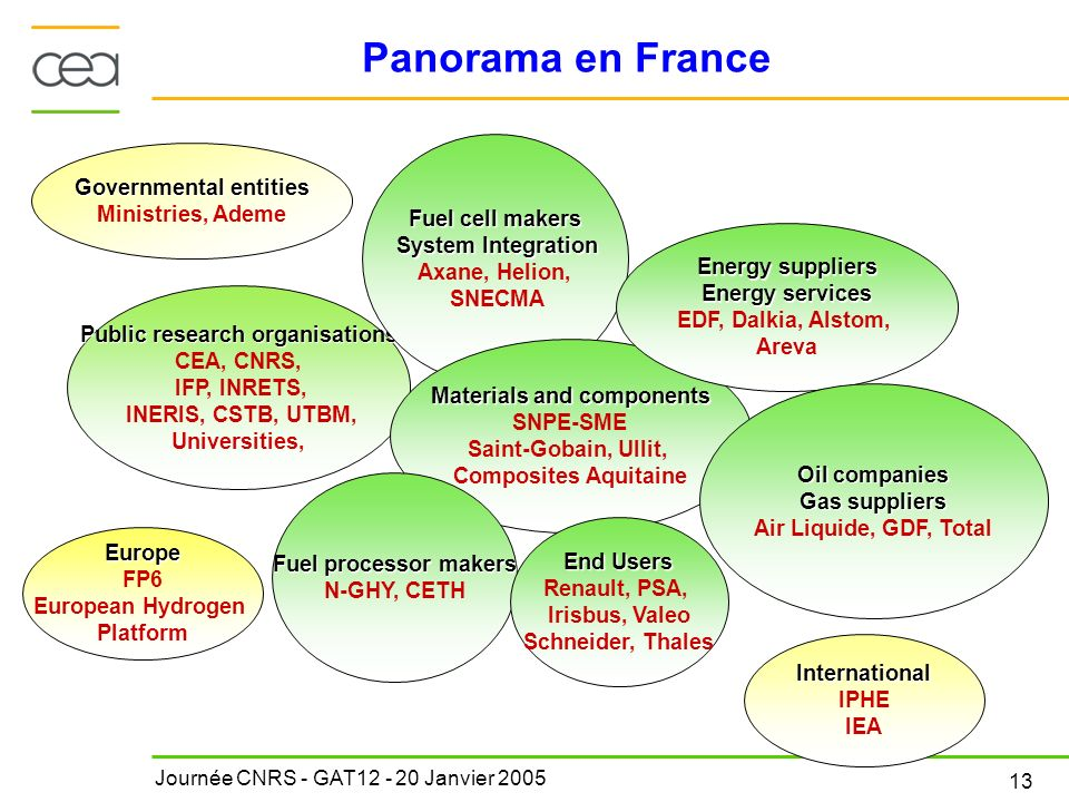 Panorama en France Public research organisations CEA, CNRS,