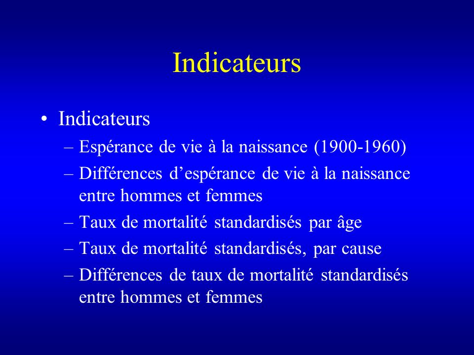 Indicateurs Indicateurs Espérance de vie à la naissance (1900-1960)