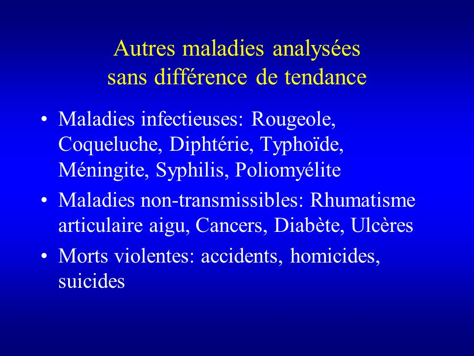 Autres maladies analysées sans différence de tendance