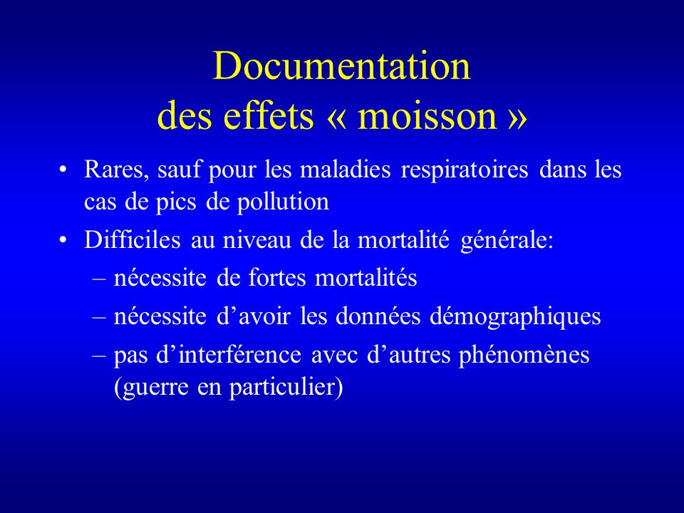 Documentation des effets « moisson »