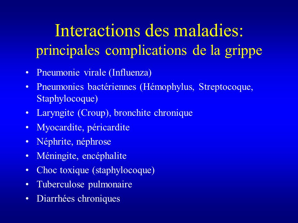 Interactions des maladies: principales complications de la grippe