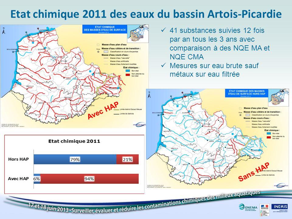 Etat chimique 2011 des eaux du bassin Artois-Picardie