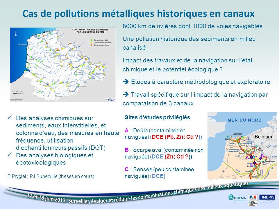 Cas de pollutions métalliques historiques en canaux