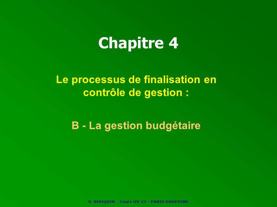 Chapitre 4 Le processus de finalisation en contrôle de gestion :