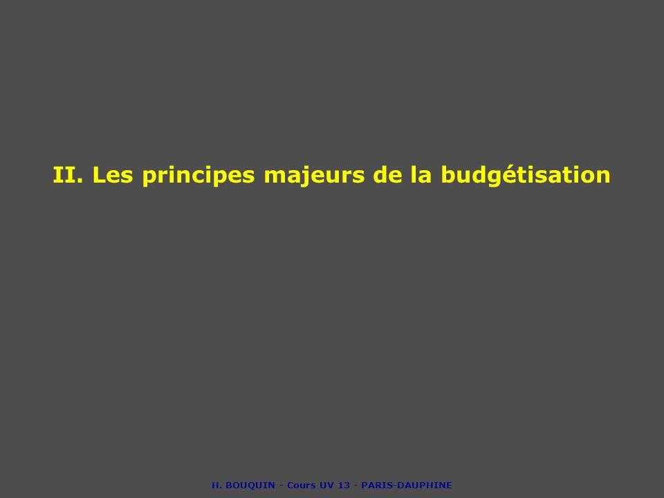 II. Les principes majeurs de la budgétisation